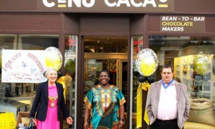 Leamington Mayor Cllr Susan Rasmussen opens luxury chocolate store